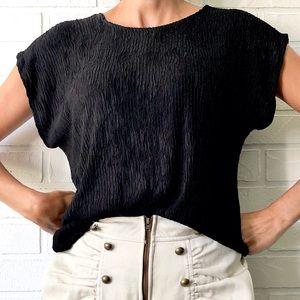 Vintage 80s 90s black dolman short sleeve top M
